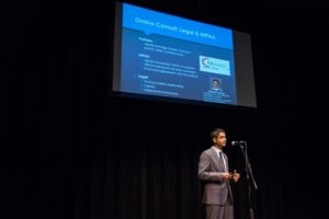 Dr. Sameer Ather pitching XpertDox at a 2016 Alabama Launchpad competition. He went on to receive $40,000 in seed funding.