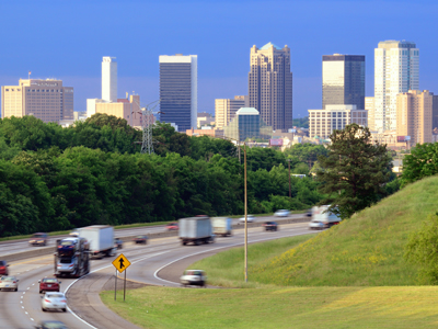 Downtown Birmingham, Alabama from Intershate 65