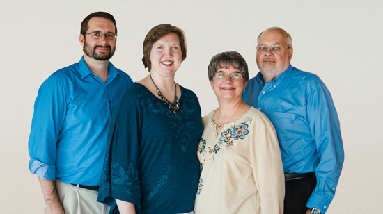 Left to right: Benji, Rebekah, Liz and Ken Sawyer each have 25 percent ownership of IT company Sawyer Solutions.