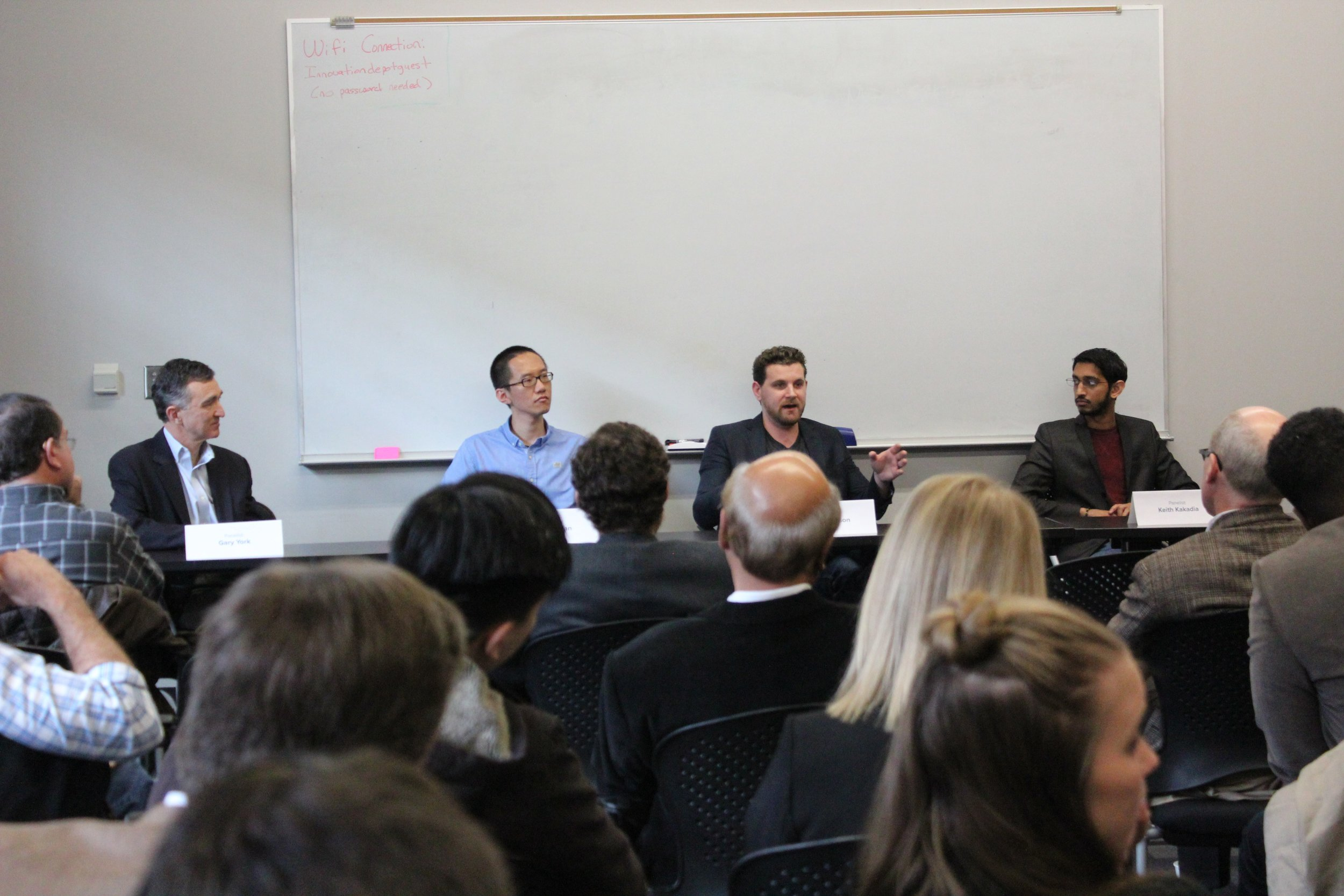 From left, Gary York, CEO of Help Lightning; Weida Tan, founder and CEO of Fledging; Ross Wesson, founder and CEO of Deft Dynamics; and Keith Kakadia, CEO of Socially.In, spoke to a standing room only crowd at the most recent Investors Roundtable.