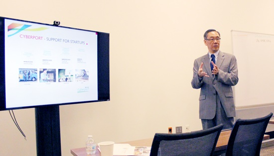Winchell Cheung of the Hong Kong Trade Development Council speaks at the BBA's most recent Investors Roundtable.