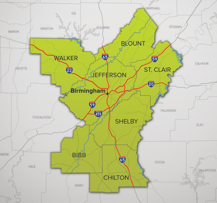 Central Alabama's seven county region.