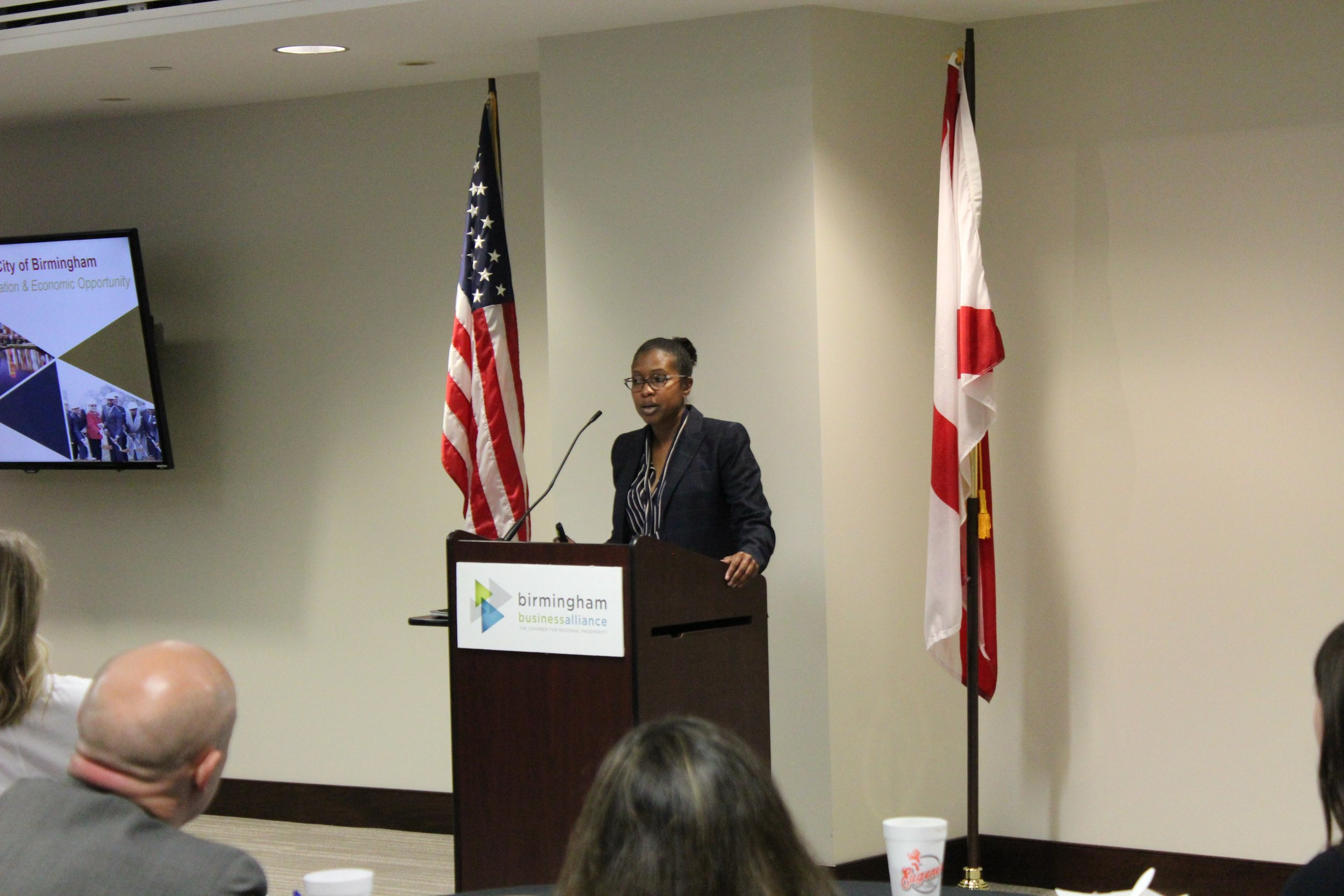 The City of Birmingham's Tené Dolphin addressed the Birmingham Business Alliance's BREC meeting last week.