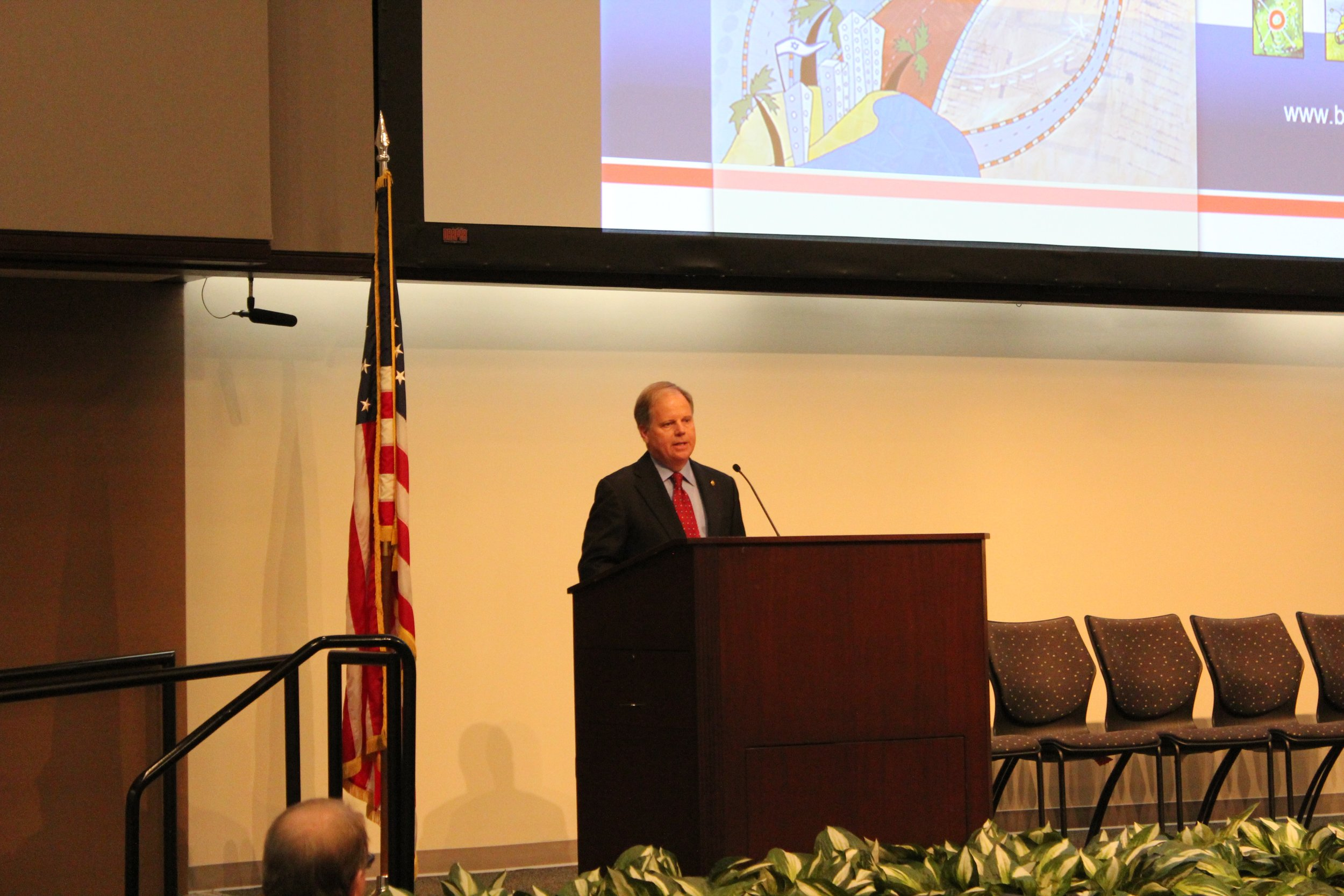 """U.S. Senator Doug Jones was the keynote speaker during """"Doing Business with Israel: Opportunities for Alabama-Israel Technology Partnerships,"""" hosted by the Birmingham Business Alliance this week."""