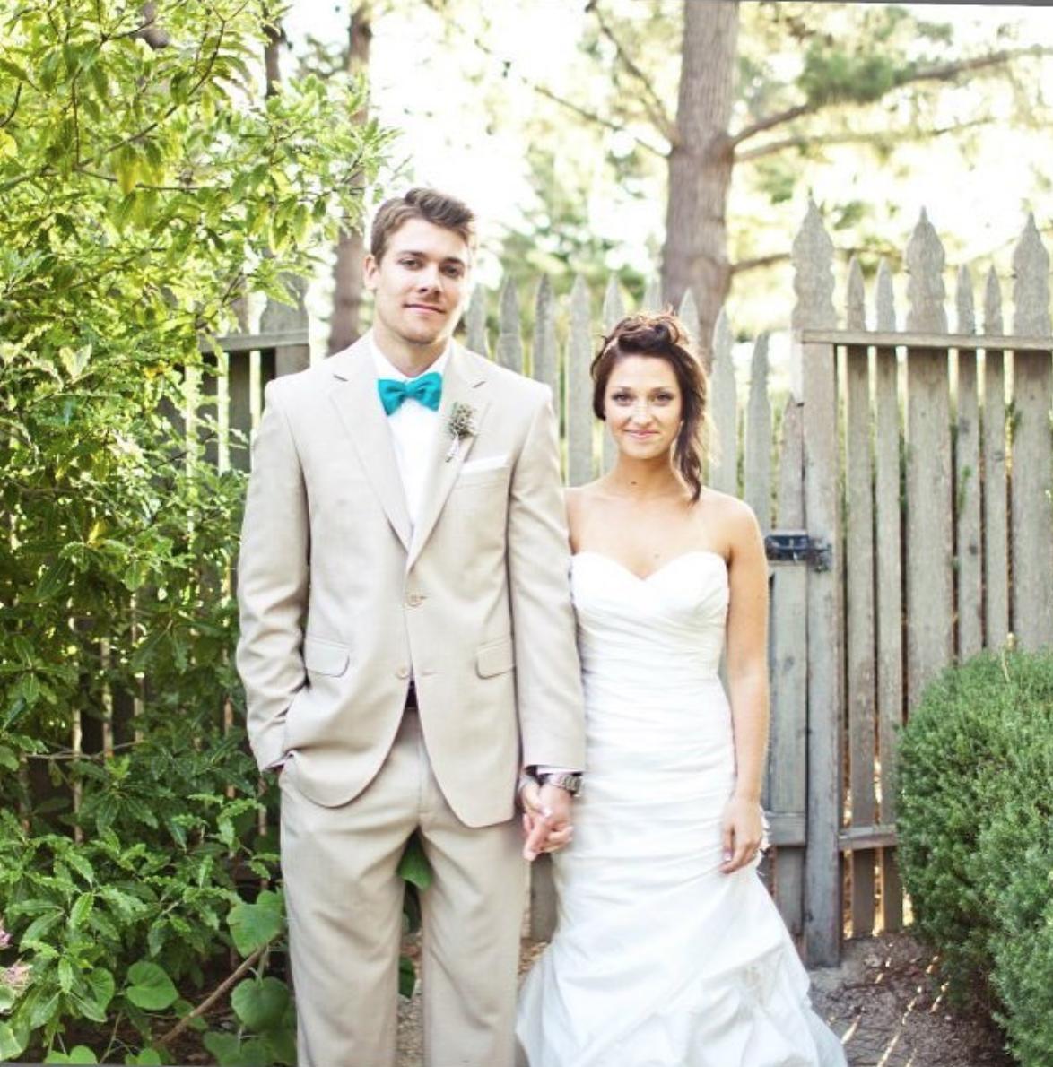 Joanna and Nolan on their wedding day