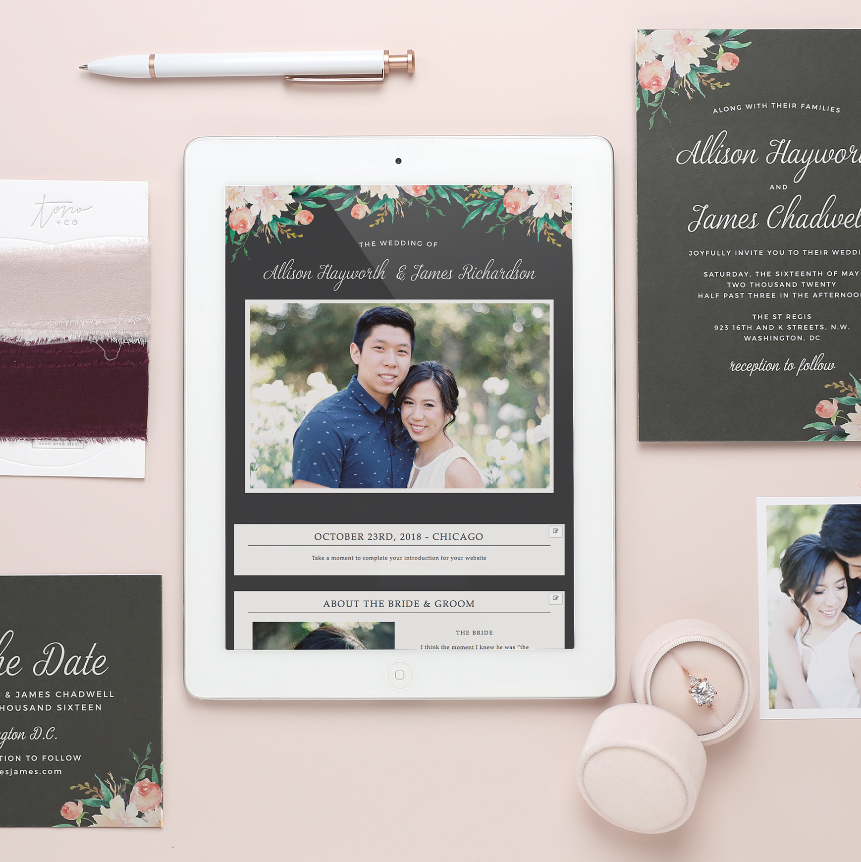 Custom websites that match your invitations and save the dates perfectly!