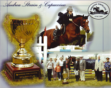 Andrea Strain horse show jumping collage from the National Bank Financial Wester Cup.