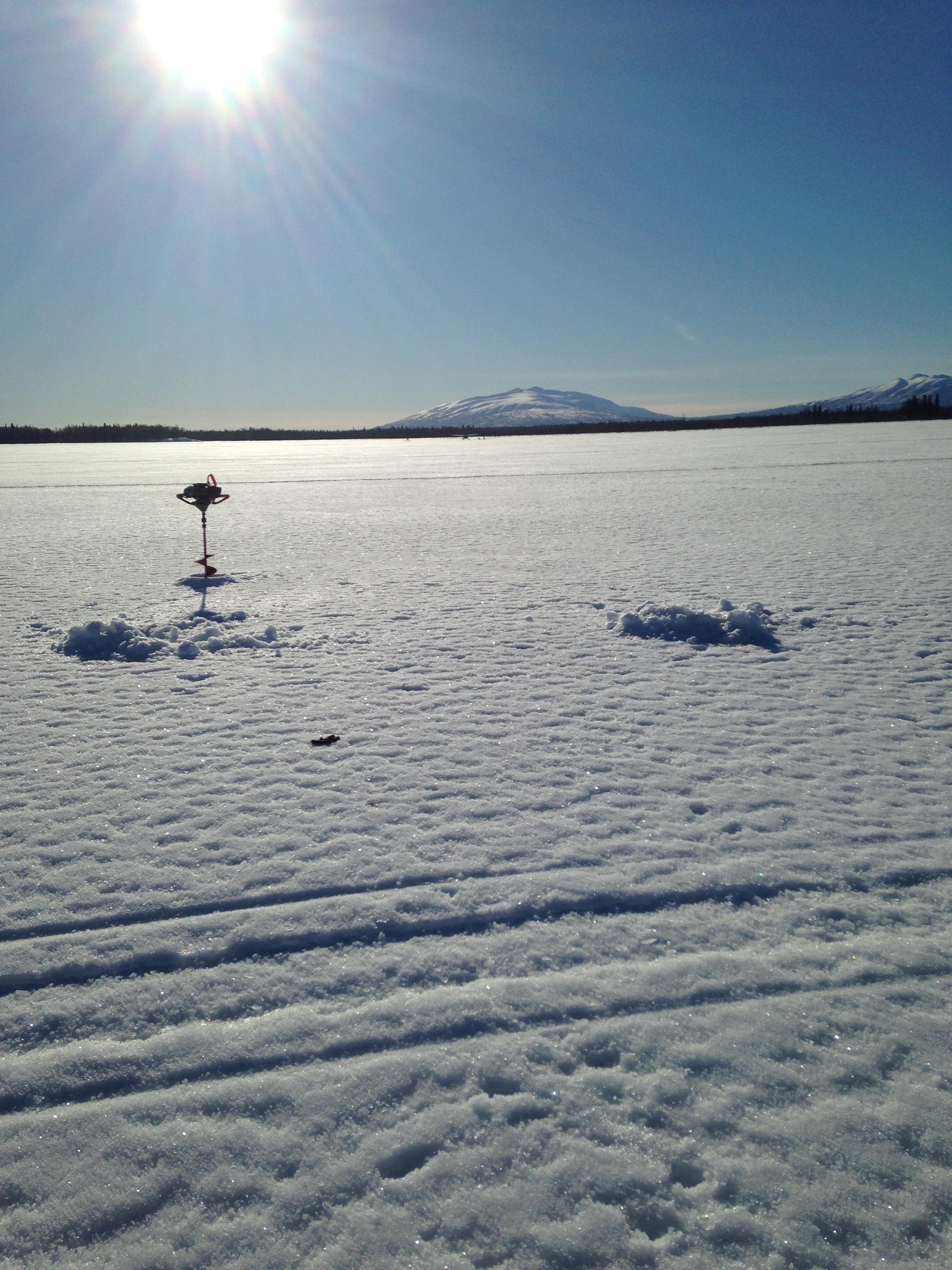 Ice fishing Alexander Lake