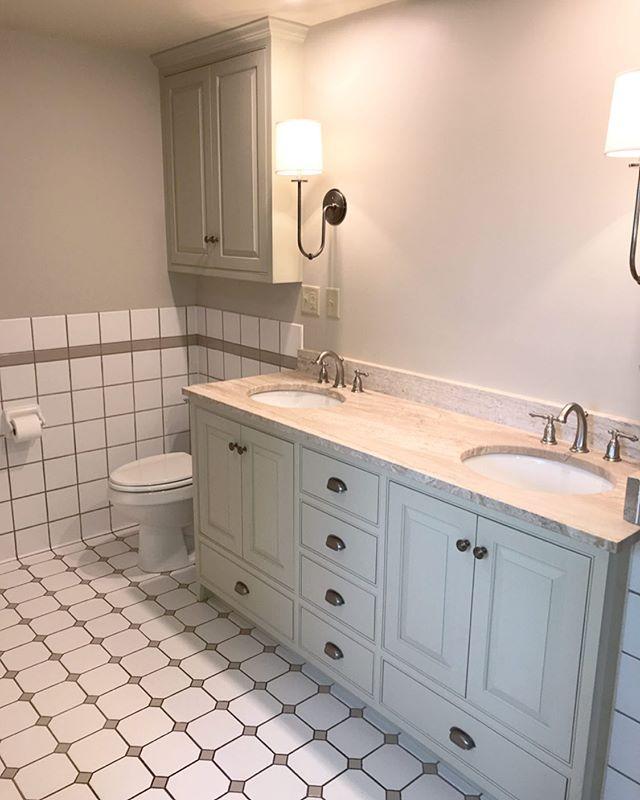 Vanity and medicine cabinet installed. #catskills #hudsonvalley #woodworking #cabinetmaker #athensny @timalbrightdesign