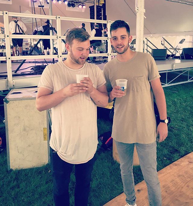 Just two wild and crazy guys hangin' out. Thanks for the great night Sheboygan Falls Oktoberfest🤘🏻🍻 Also..Tyler would like you all to see his new tattoo #twobros #coldsodaclub