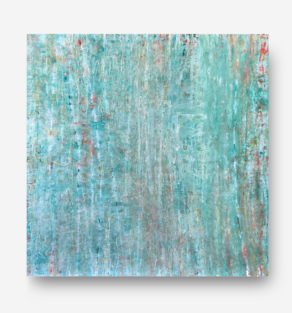 """Fluid Improvisation III   oil on canvas  30"""" x 30""""  Includes natural maple float frame   $950"""