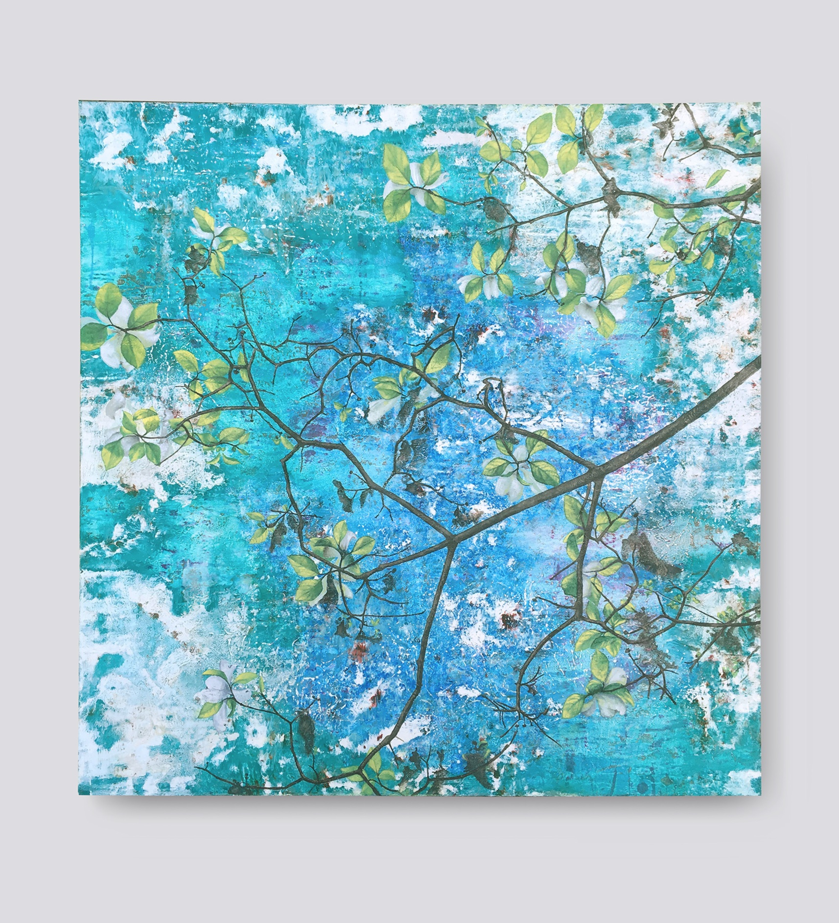 """Dogwood Branch   oil on canvas  30"""" x 30""""  Canvas edge is painted  (1.5"""" deep)   $900"""