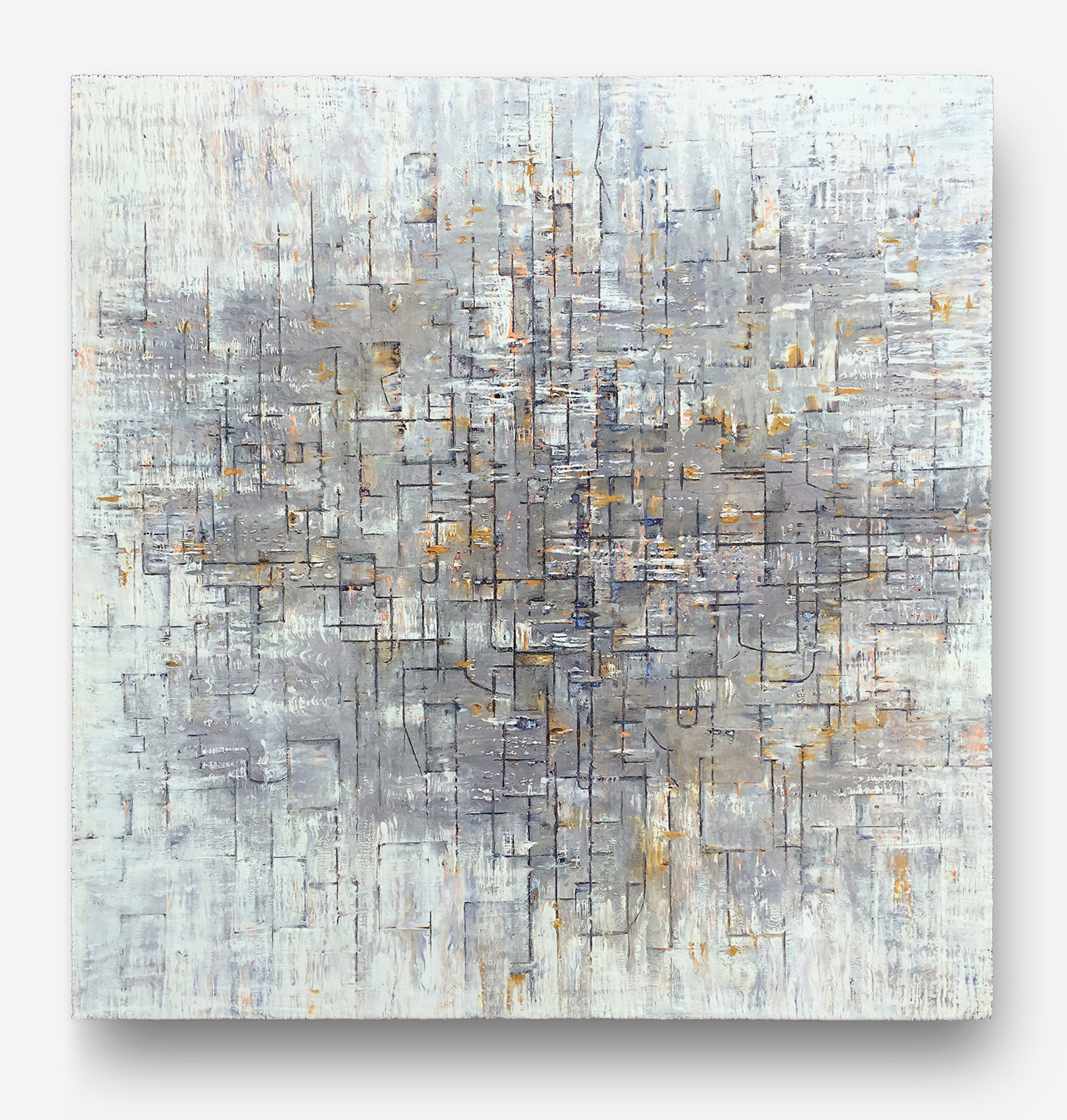 """Composition in Gray     SOLD    oil on canvas  48"""" x 48""""  Canvas edge is painted  (1.5"""" deep)   $500"""