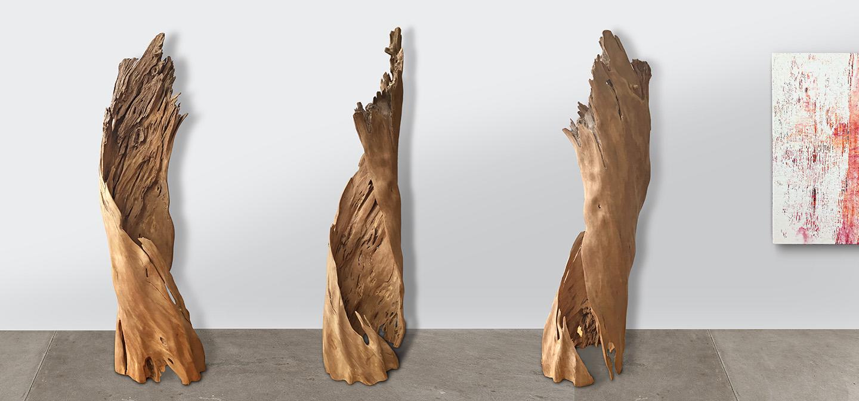 3 Views of Ash Tree Sculpture