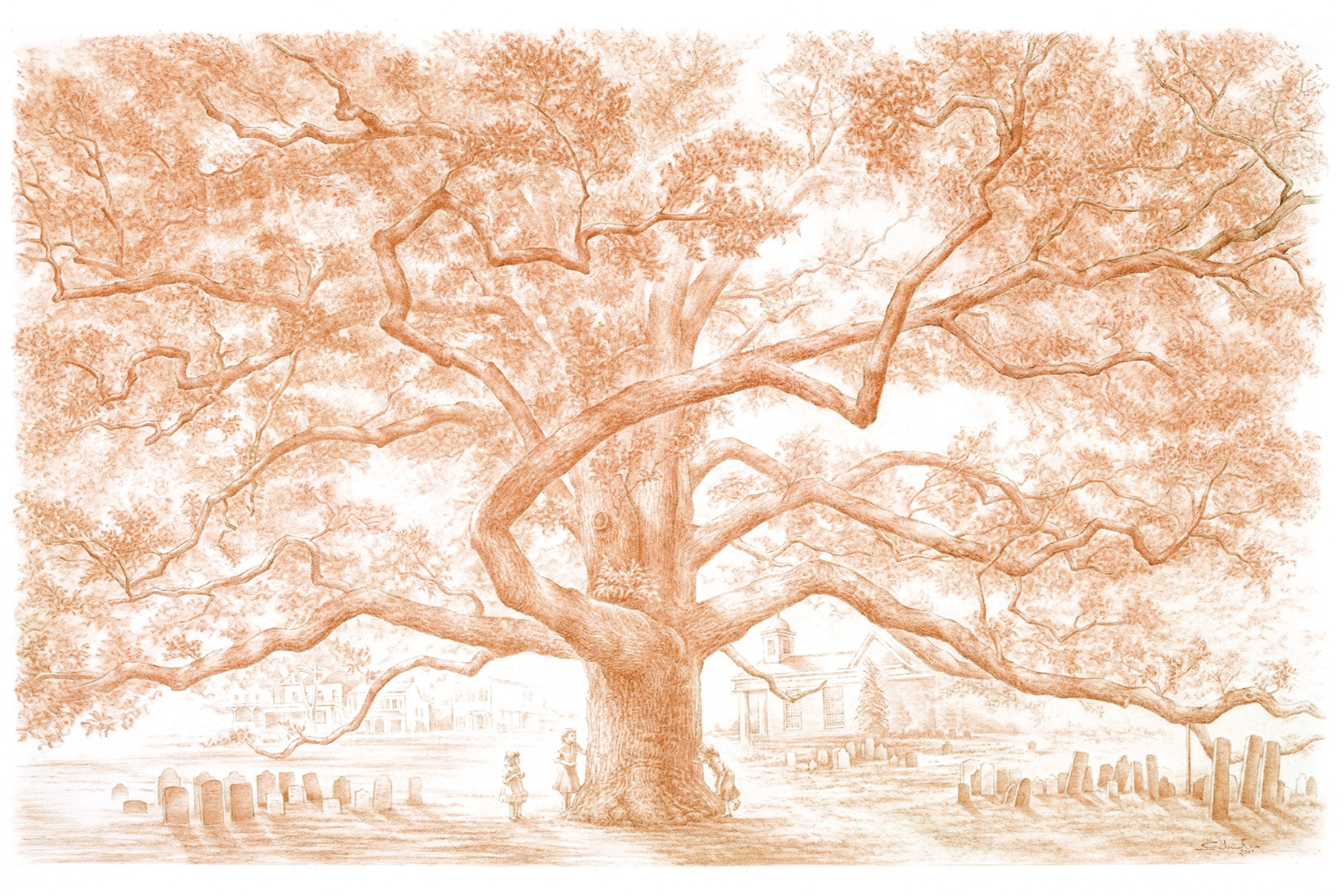 """The Great Oak   pastel pencil on paper  39.5"""" x 27.5""""  framed size: 40"""" x 28"""" natural cherry frame with off-white matt   $1,400"""