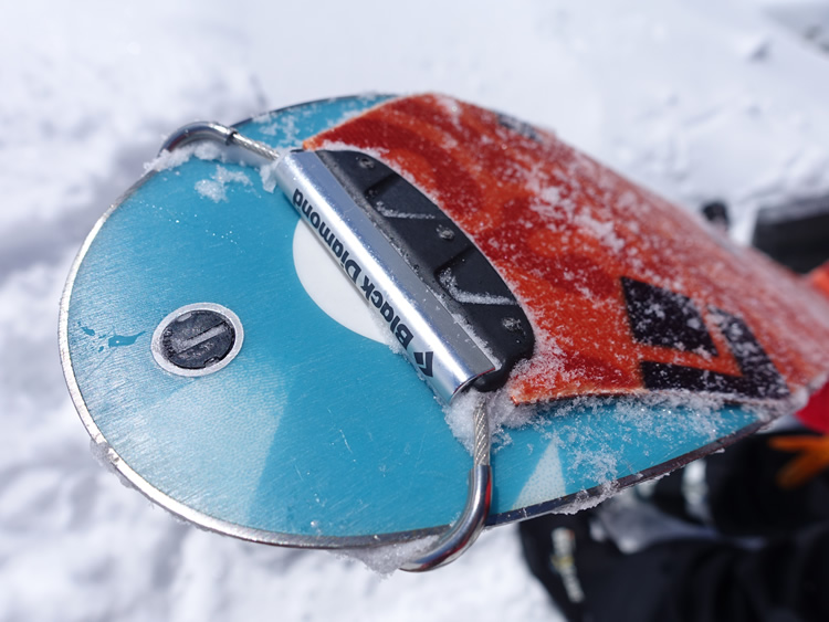 Black diamond brand climbing skin looped over front of a randonee ski