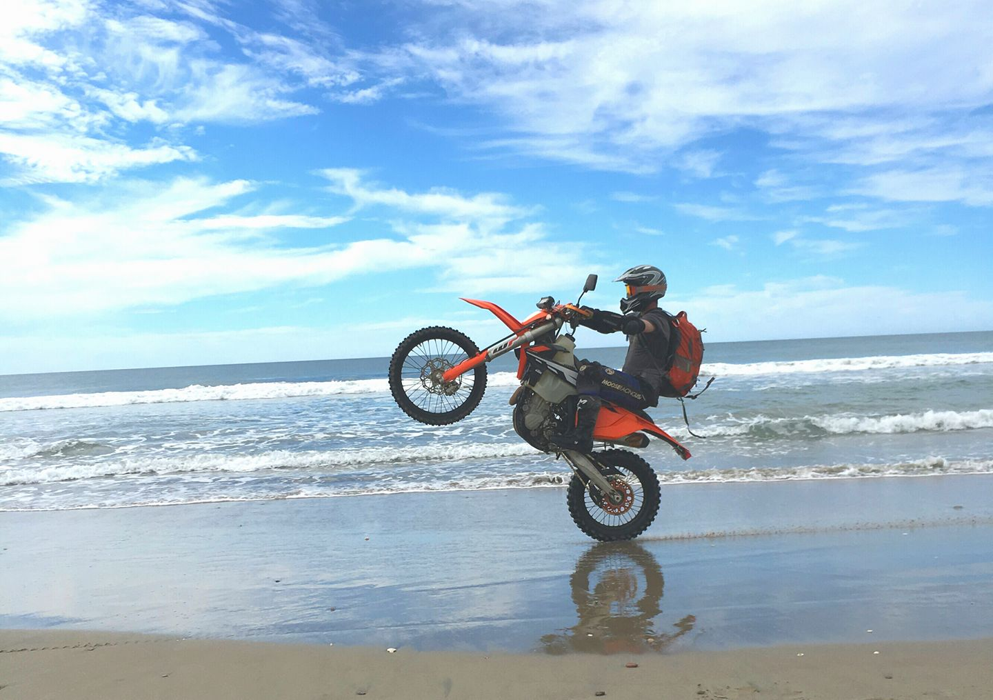 KTM riding on beach