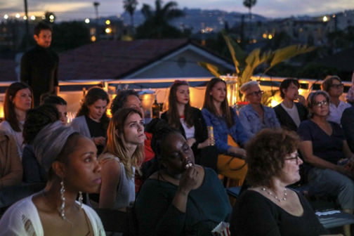 """Rooftop Screenings - Nothing says """"Los Angeles"""" more than gathering 40 of your friends, tastemakers or coworkers to screen a film.Pictured here: our Janes watching Sony Pictures Classics' award-winning documentary MAIDEN."""