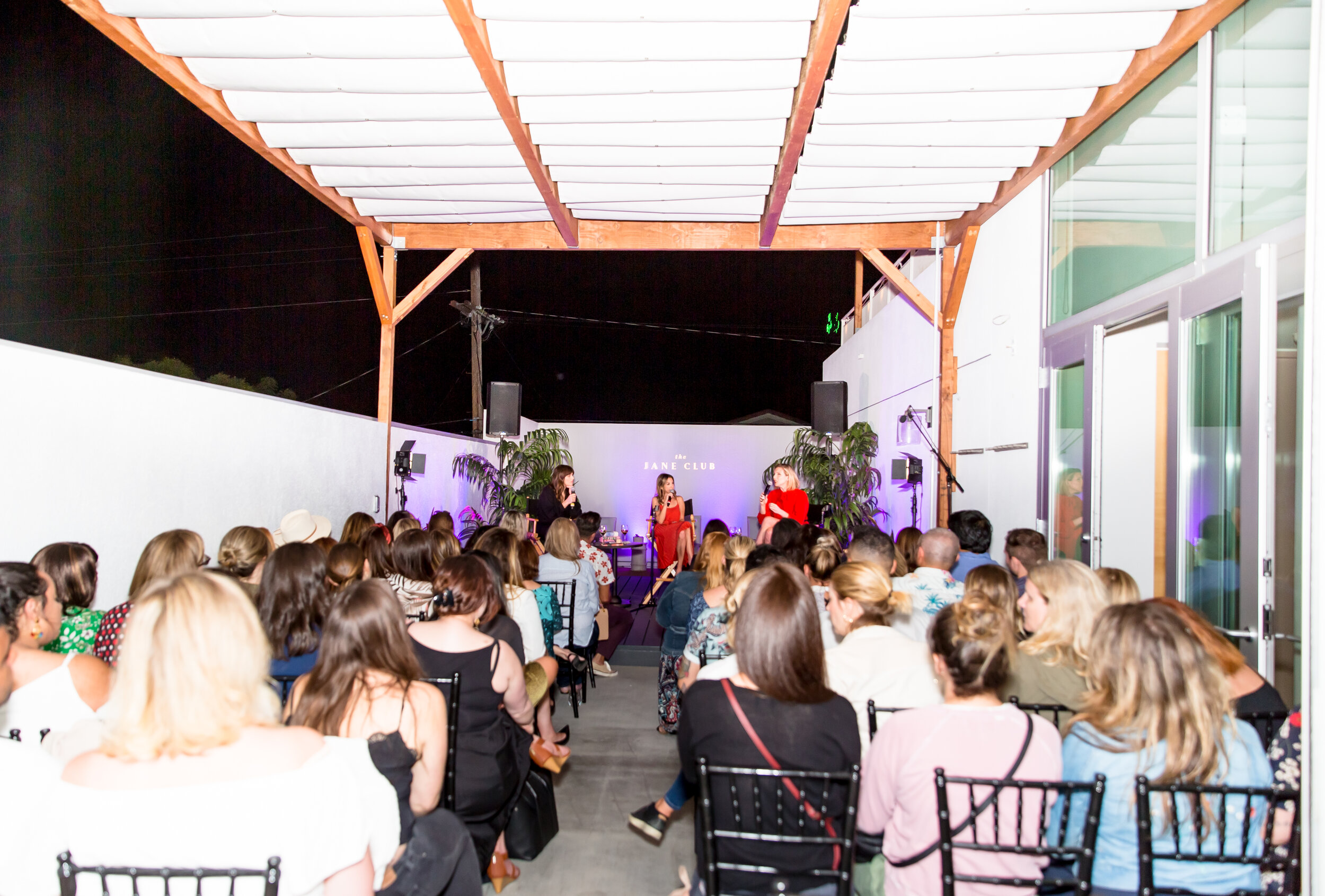 Panel discussions and Fireside Chats - Gather a group for insightful fireside chats, thoughtful panel discussions or one-on-one interviews Poolside at The Jane Club.Events can accommodate up to 75 seated attendees.Pictured here: live podcast recording of Bitch Sesh featuring Casey Wilson and Danielle Schneider.