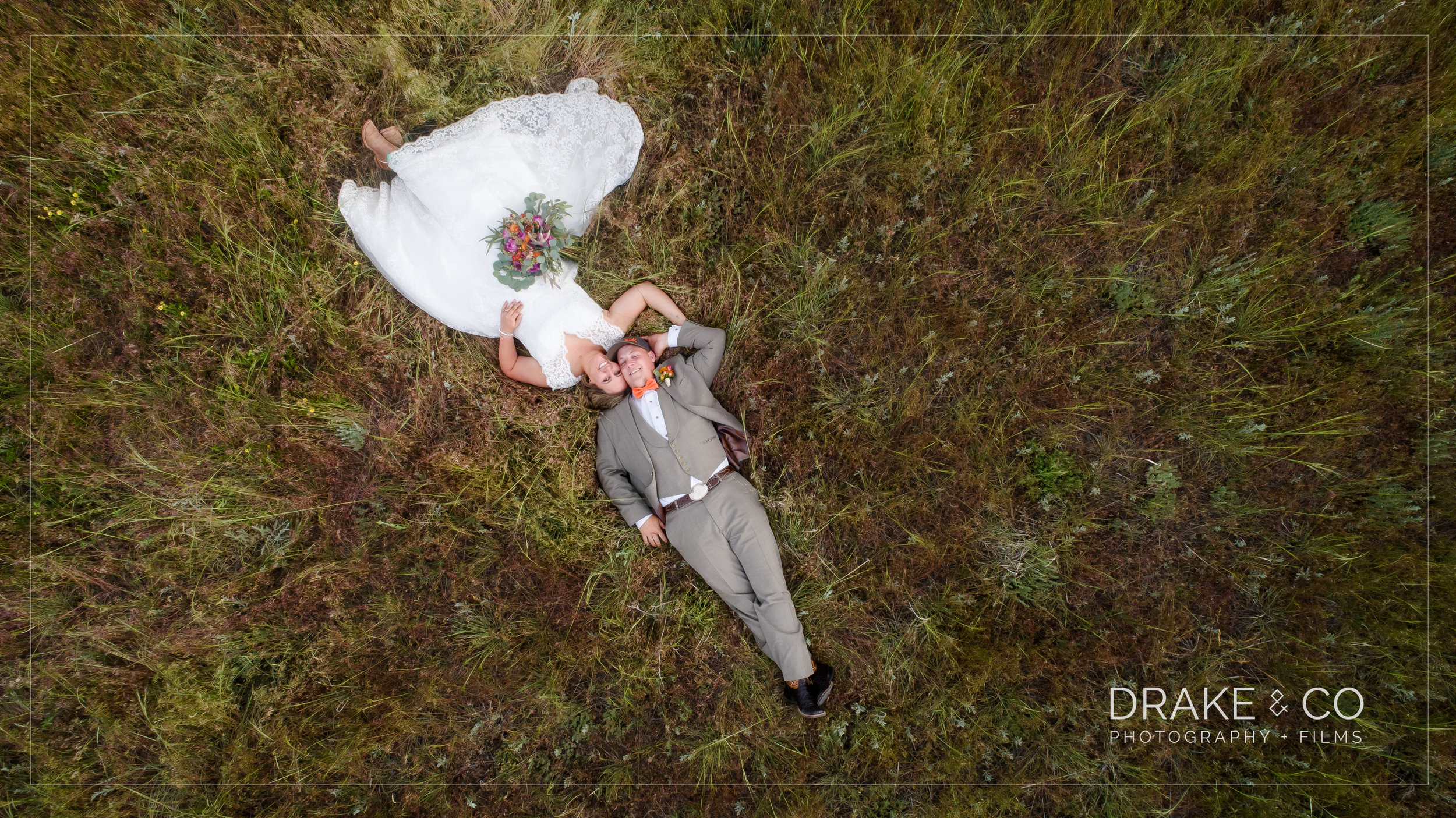 Drone Photography Bride and Groom in grass