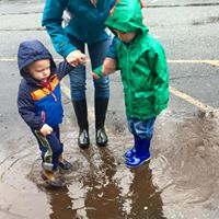 playing in rain puddles