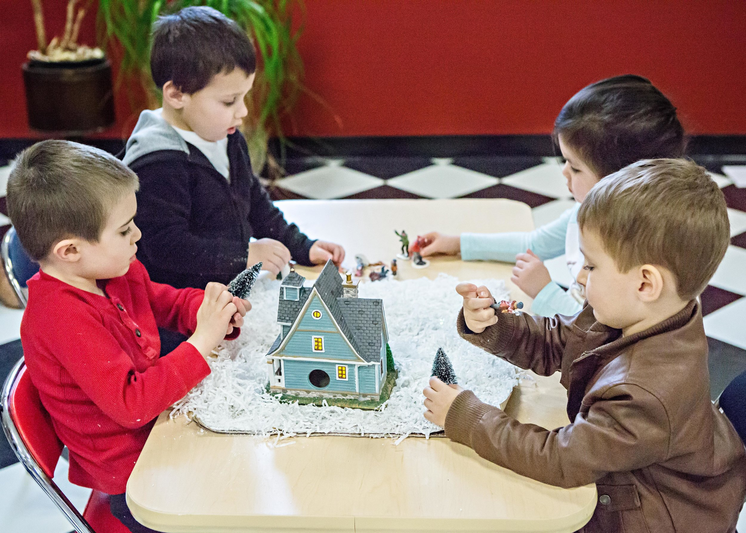 winter scene pretend play
