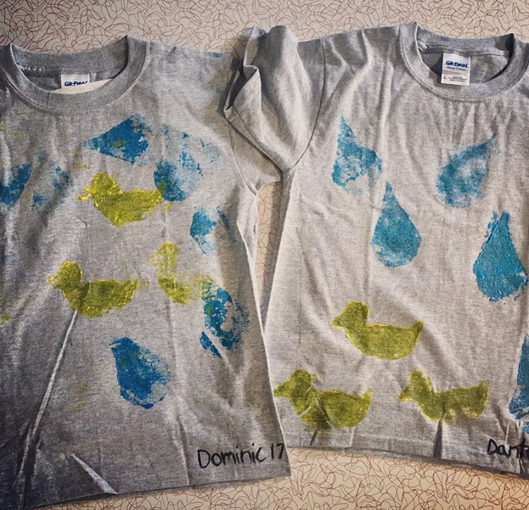 How cute are these april showers-themed shirts??