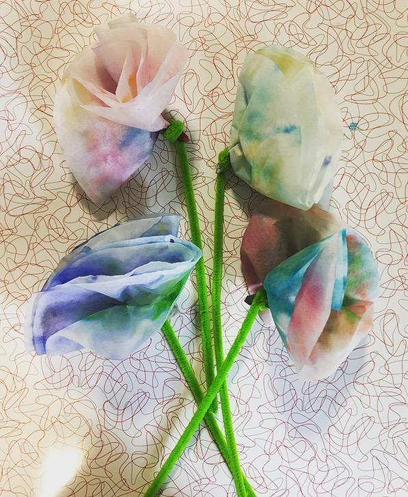 coffee filter watercolor flowers