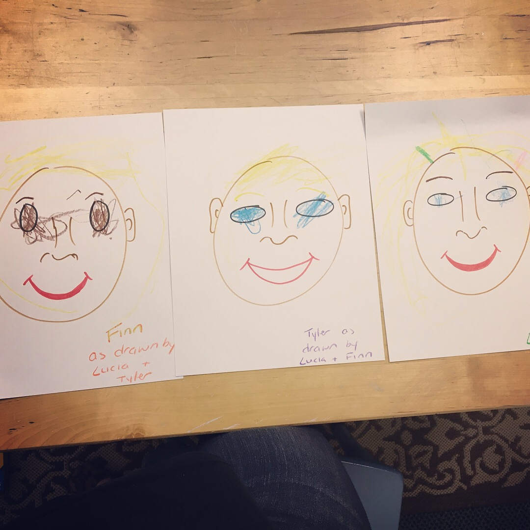 we did a great job coloring our friends' faces!