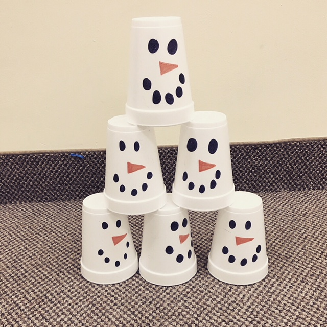 .....to knock down a snowman tower!