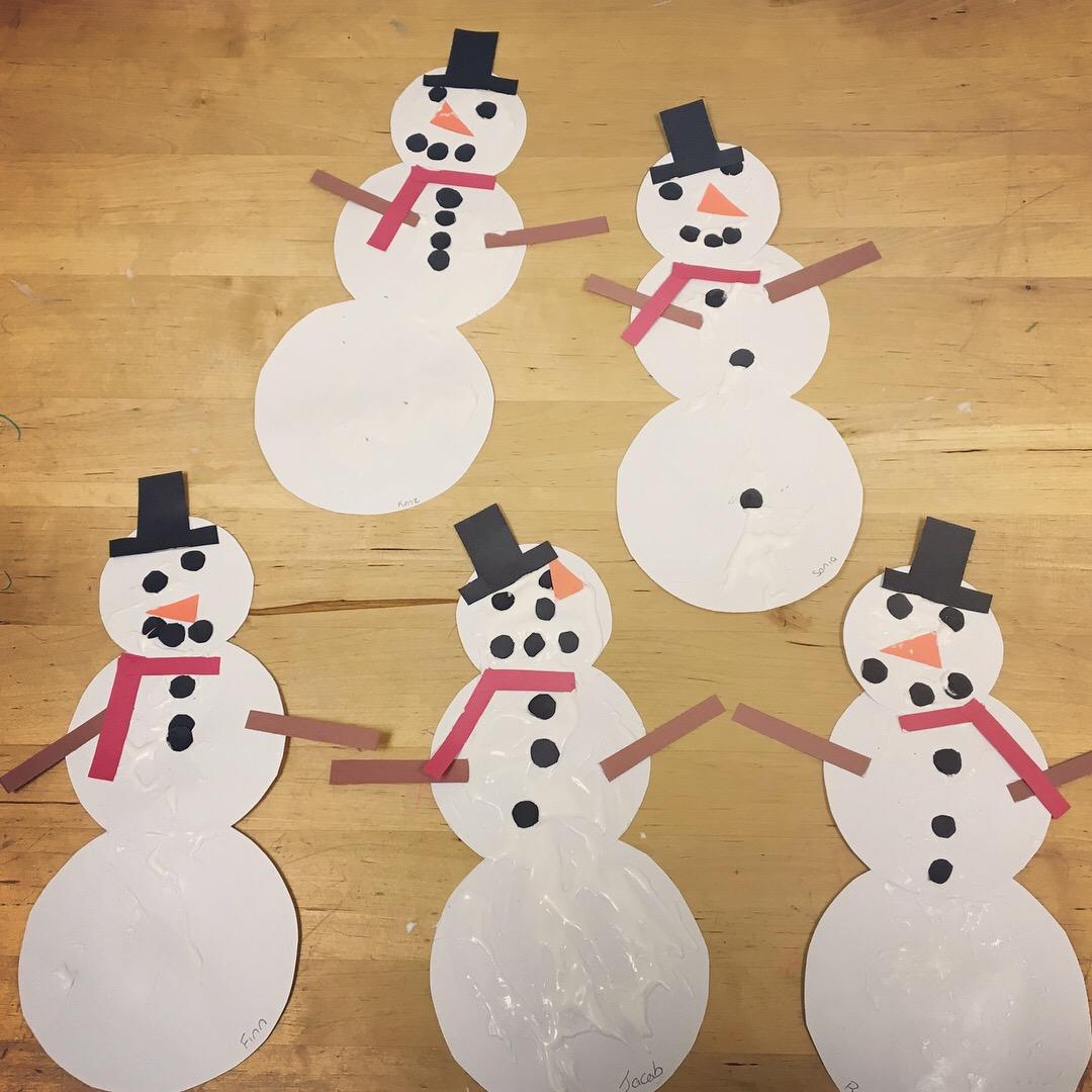 our snow paint snowmen
