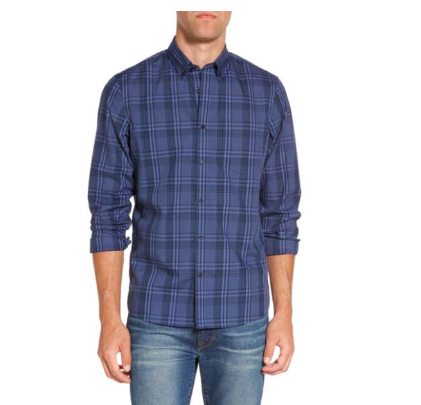 plaid gingham button down top for men