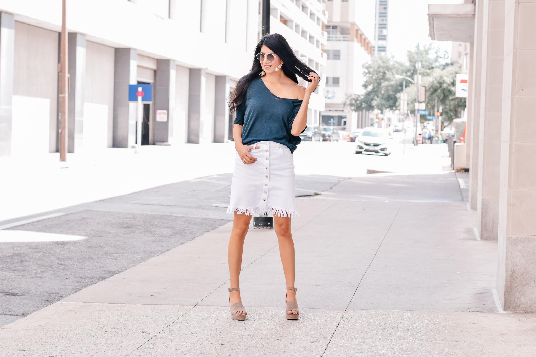 White Denim Skirt Look