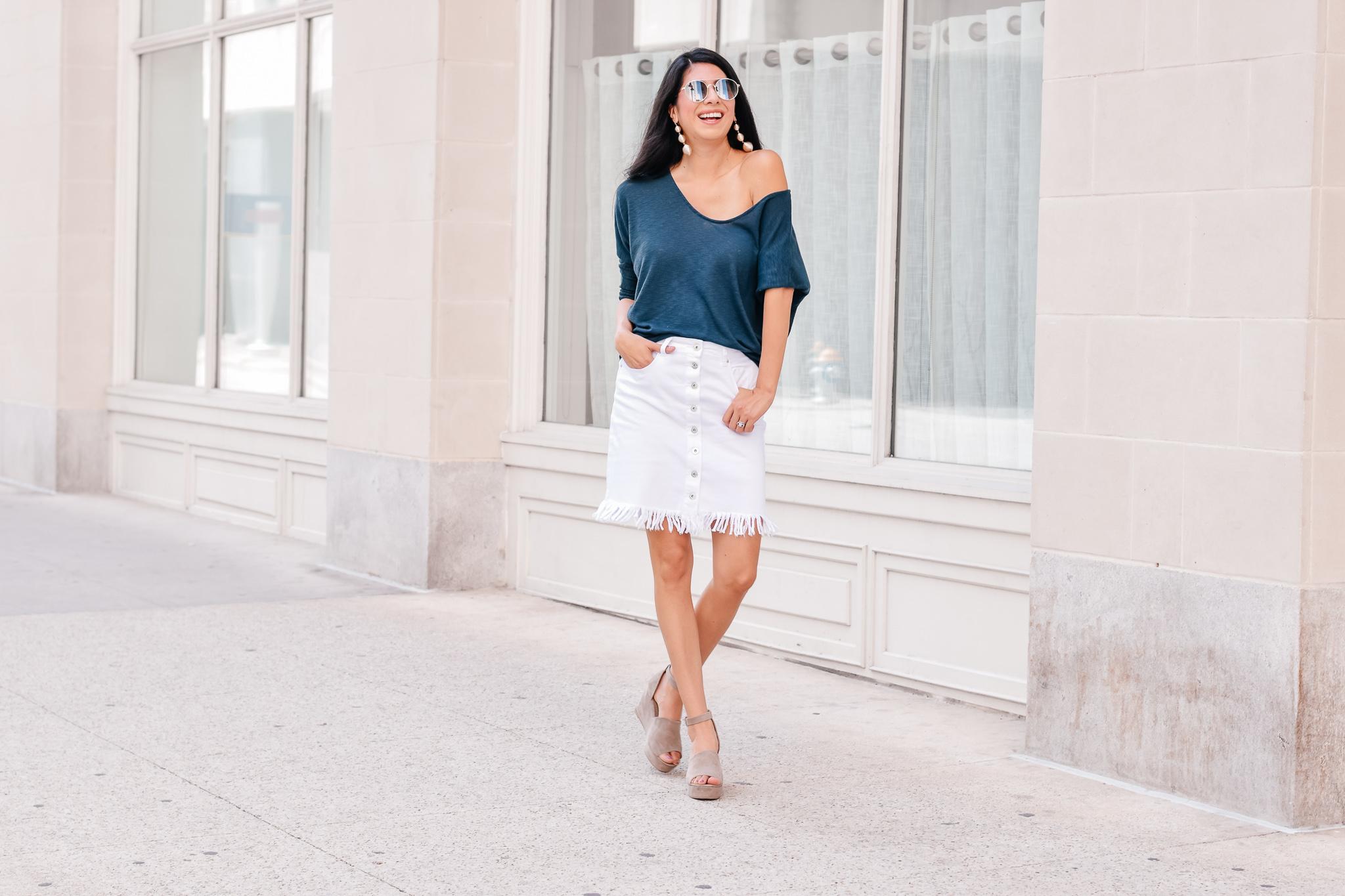 White Denim skirt with stage.com