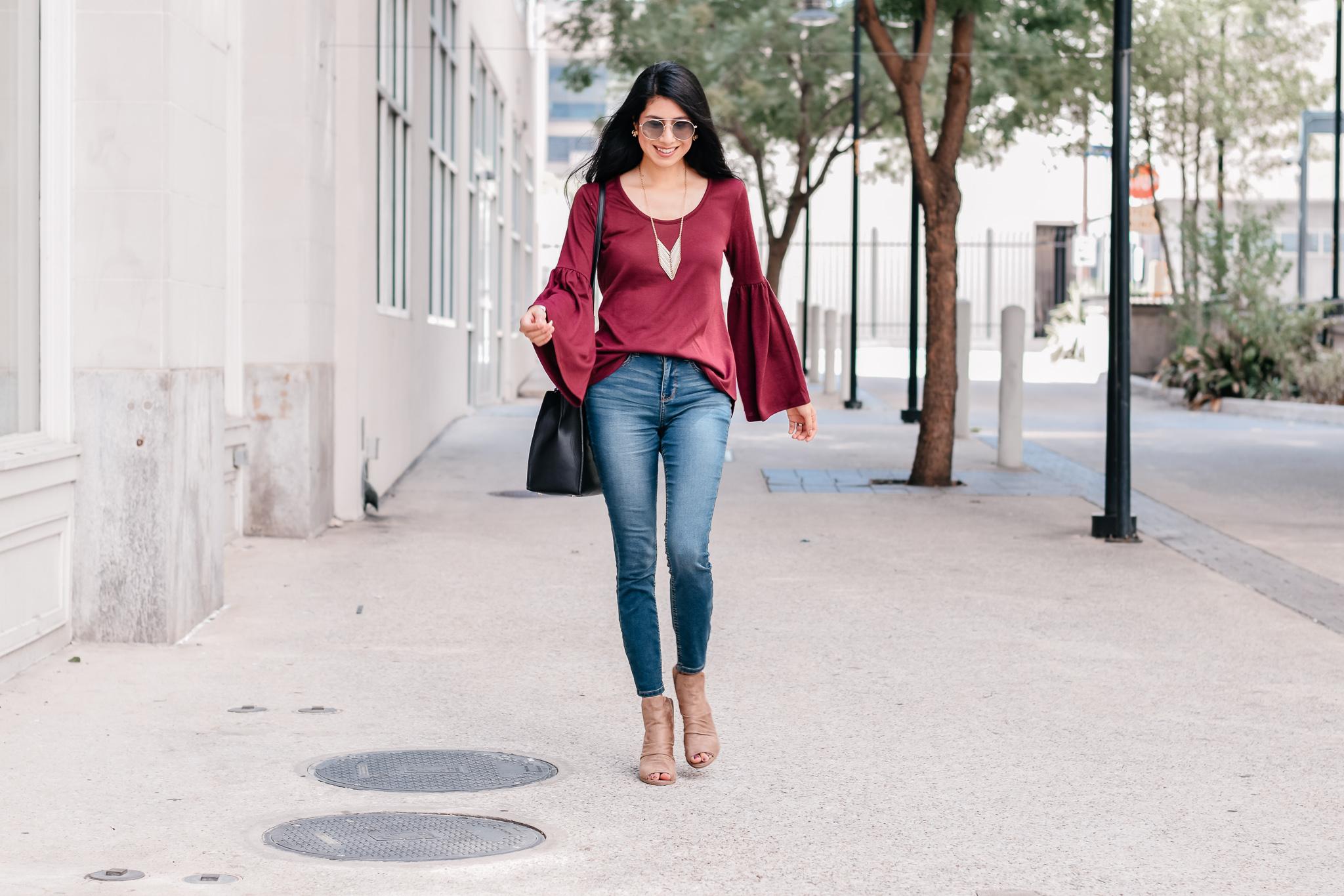 Hannah Lantern Knit Top /Vanilla Star Skinny Jeans /Yoki Katty Ankle Boots /Nine West Maddol Tote Bag