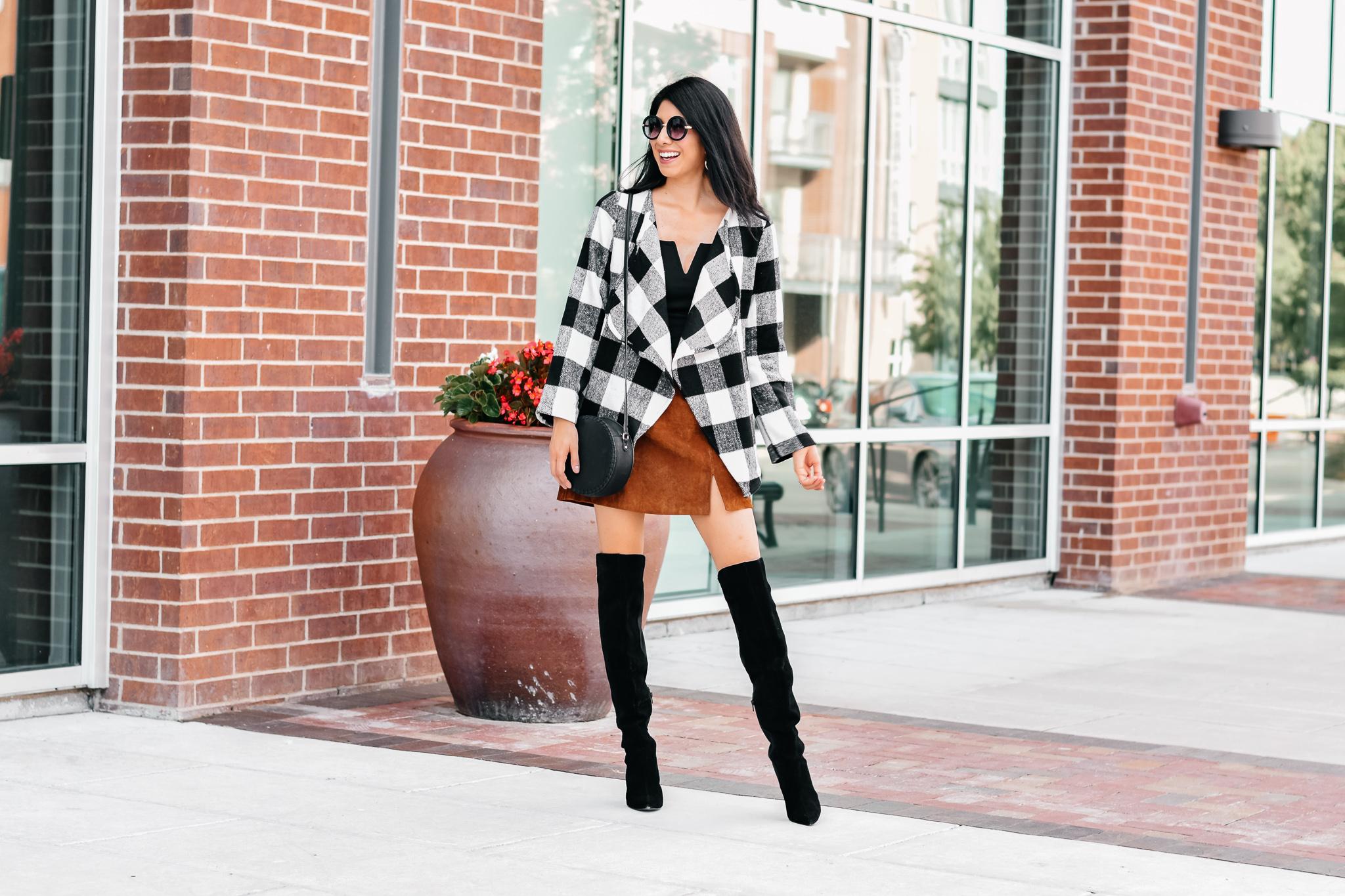 Caridgan/Blazer:  Favlux Buffalo Check Plaid Cardigan Sweater