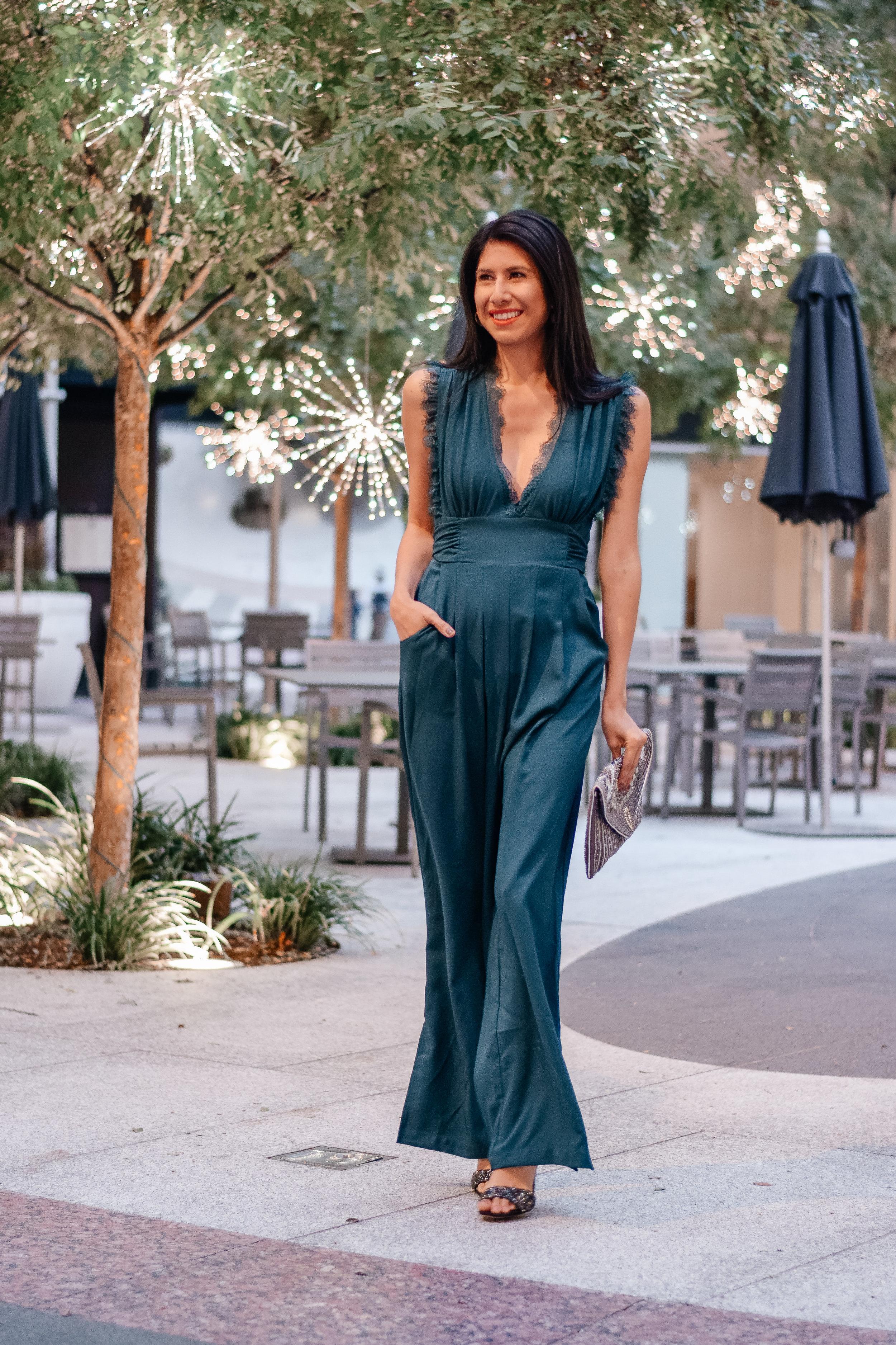 Francescas Mira Lace Neckline Jumpsuit