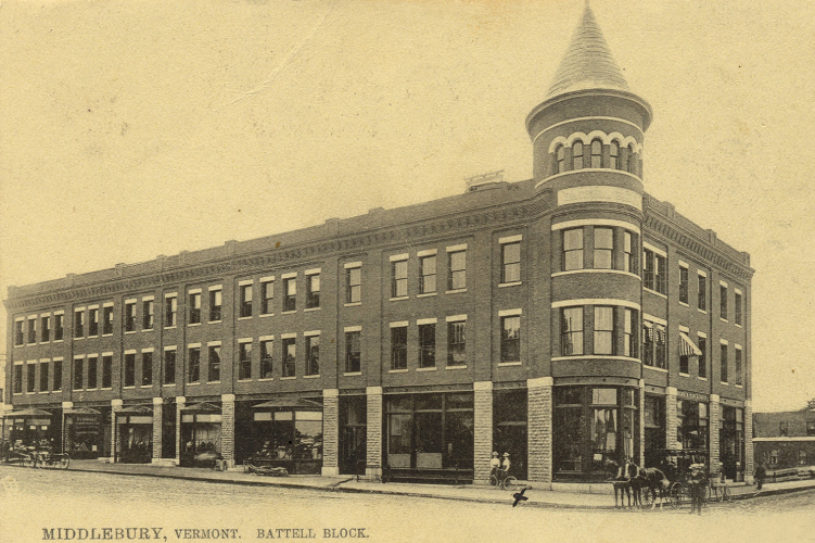 BEGINNINGS OF BATTELL BLOCK  As seen in this photo from 1905, the Battell Block has been the heart of Middlebury's downtown for more than a century.  SEE MORE