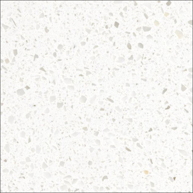 Kitchen countertops in white prism quartz, which is more scratch and stain resistant than any other natural stone or solid surface