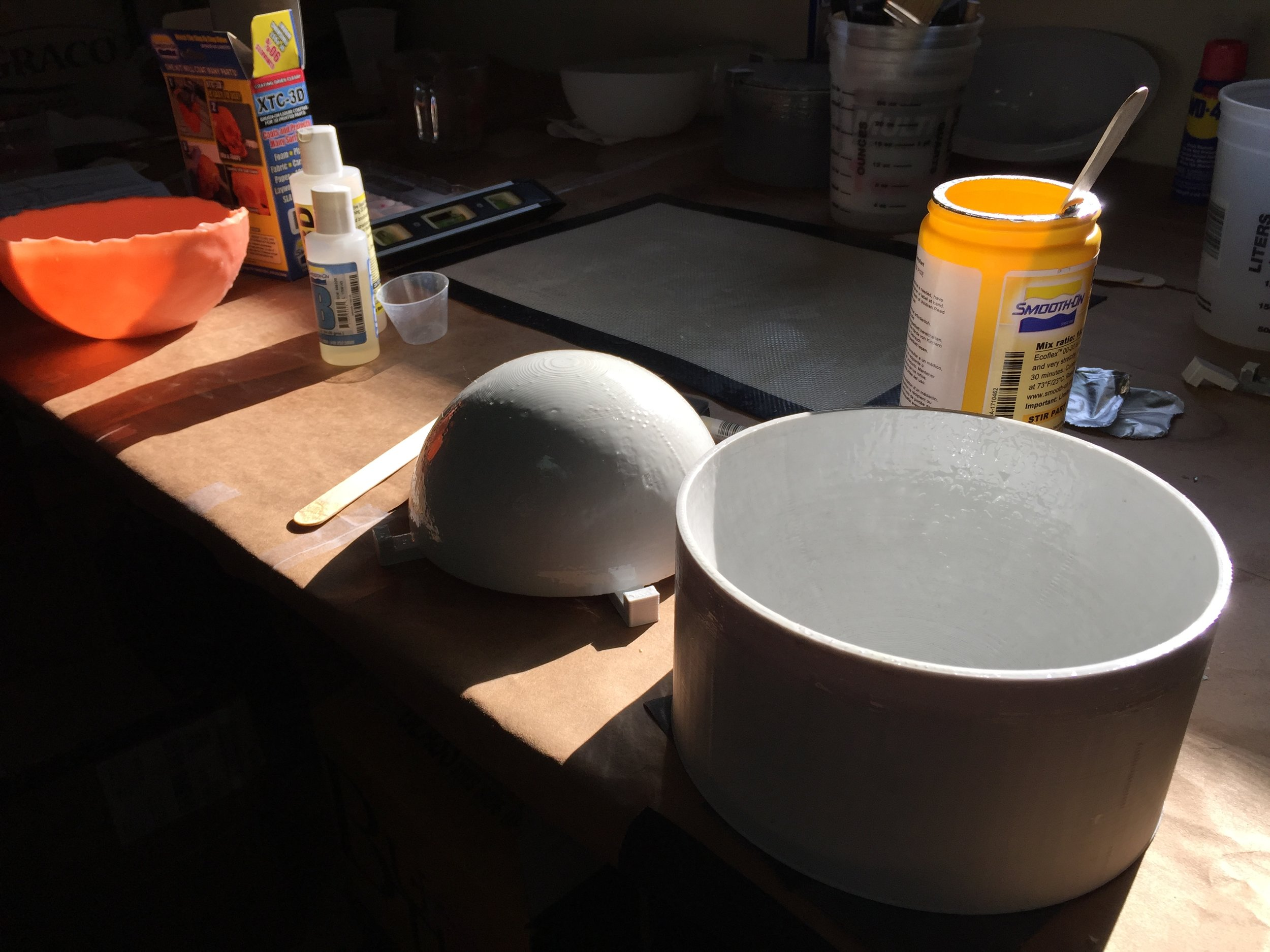 3D-printed molds for silicone prototyping.