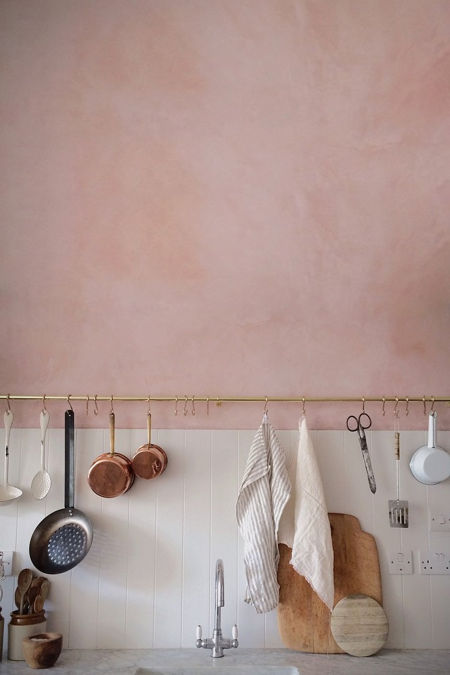 - Molten dusty rose with copper, bronze, wood, and linens to ground the dreamy color.