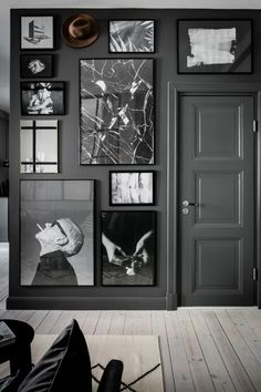 For the controlled chaos lover: same frames, all black and white, throw a hint of fun in with something out of the formula (the hat in this wall of intrigue).