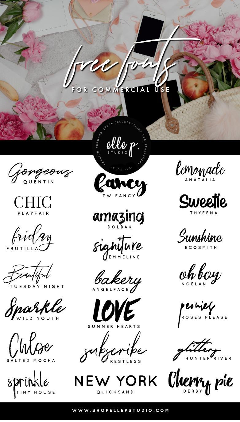 The font name is written below each phrase