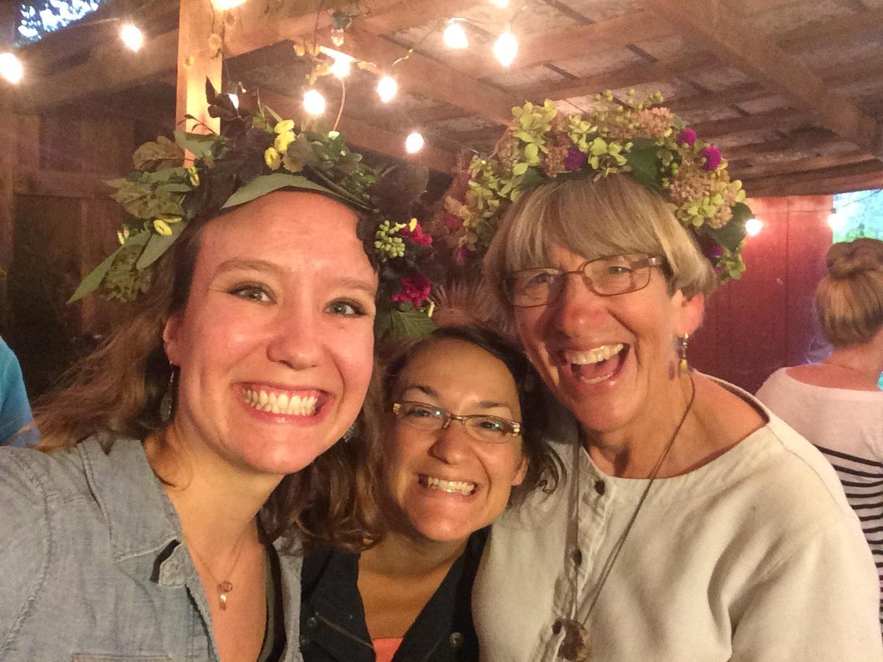 Rockin' flower crown practice with some flower friends at  Aunt Willie's Wildflowers !