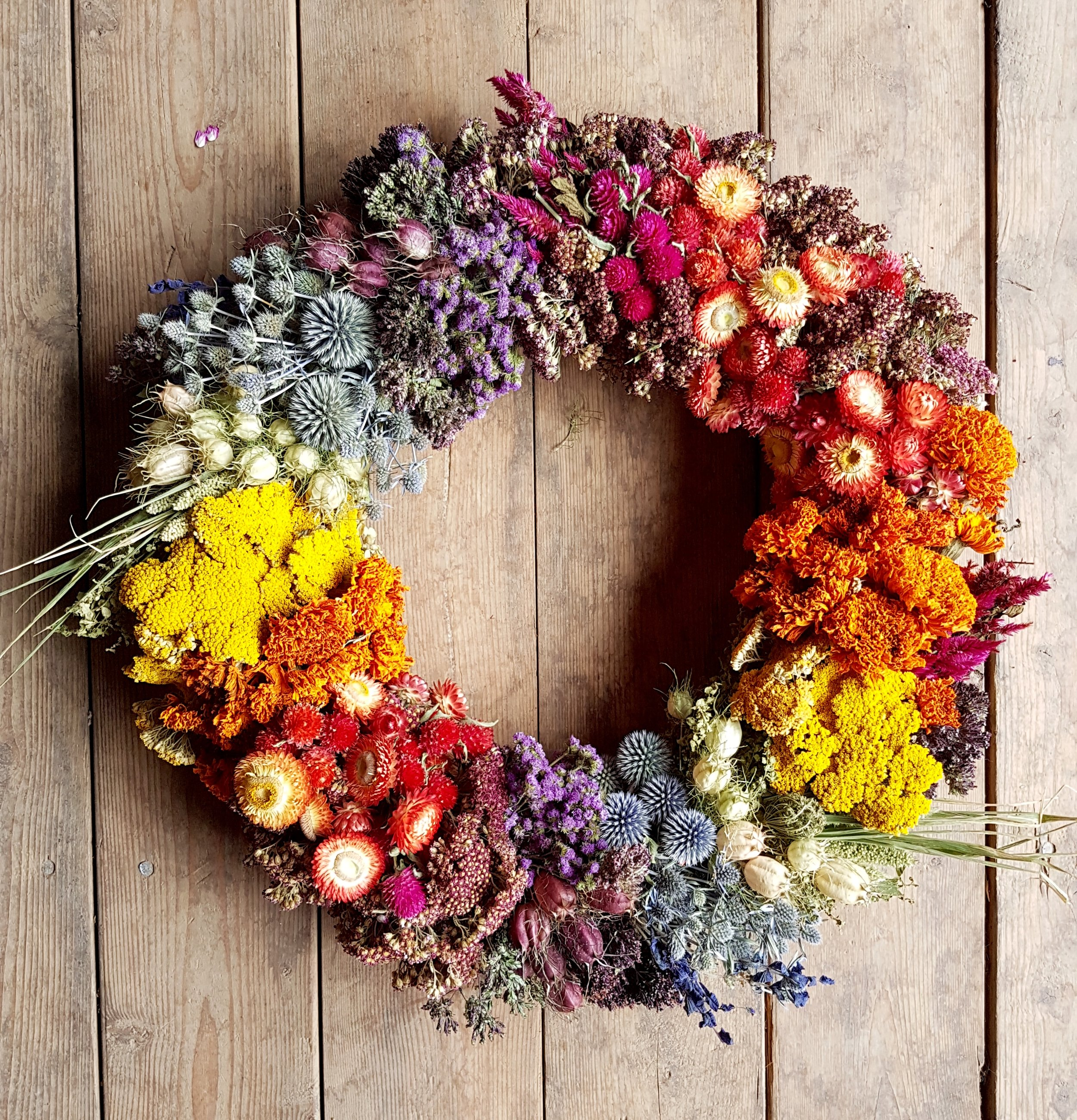 This rainbow wreath really shows off the color range that can be achieved with dried flowers!