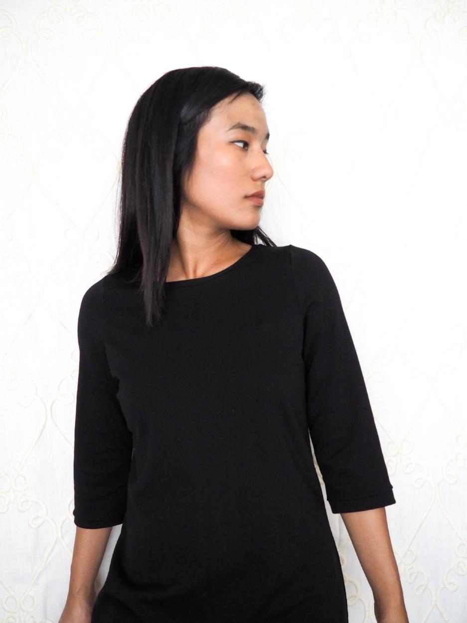T-shirt dress, subtle shape at waist