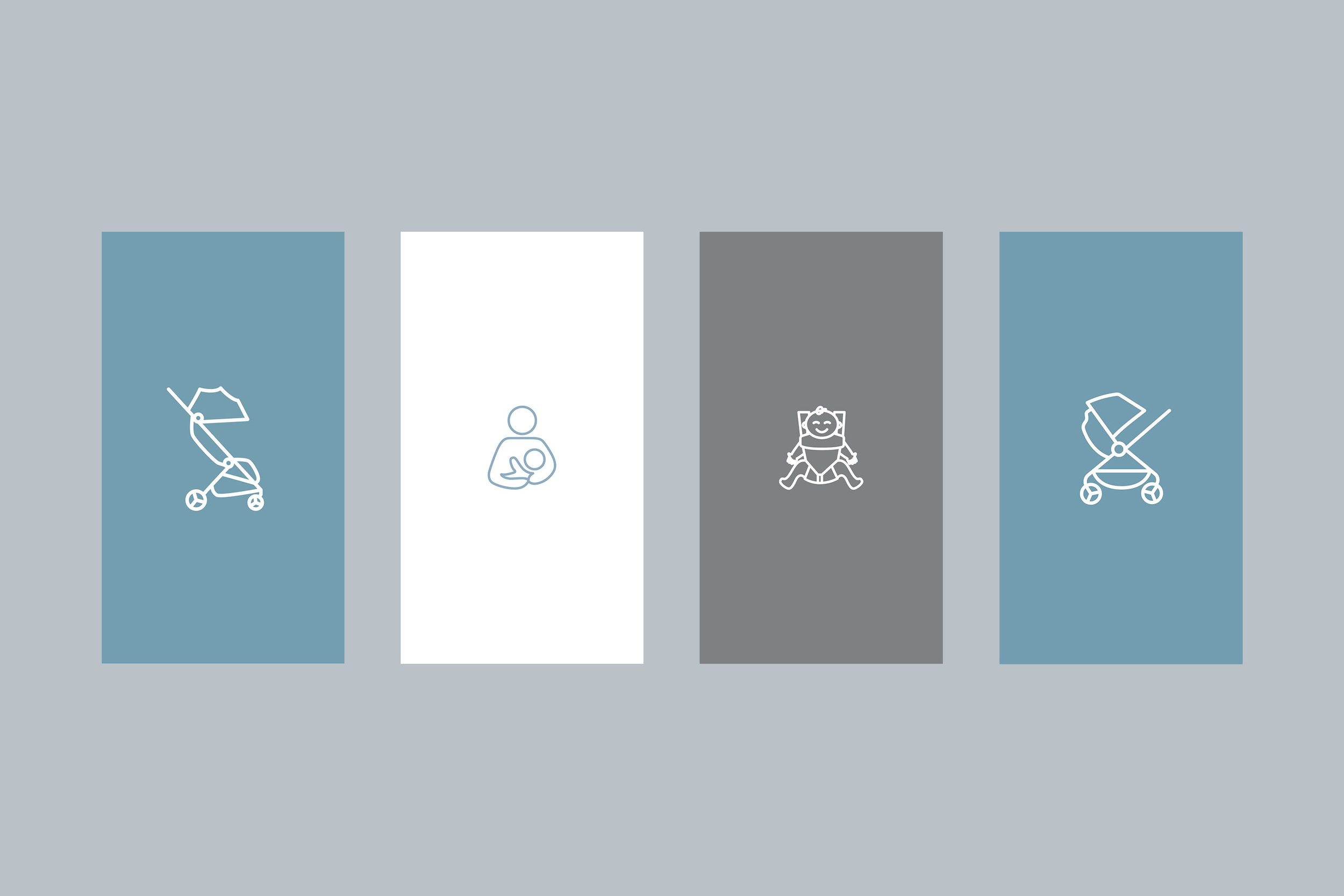 Created the Metro stroller icon (very left). The rest were pre-existing brand icons.