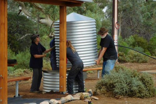 Further work days to costruct the picnic furniture, shade shelters, install the solar BBQ and associated electrics, install the water tanks, irrigation and tree planting.
