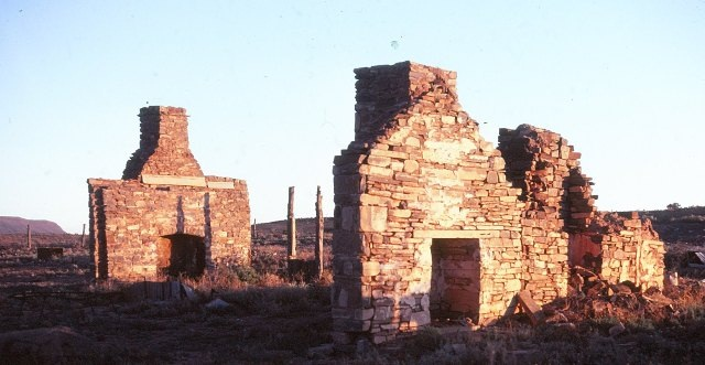 All that remains of a number of the original houses in the town are the stone chimneys