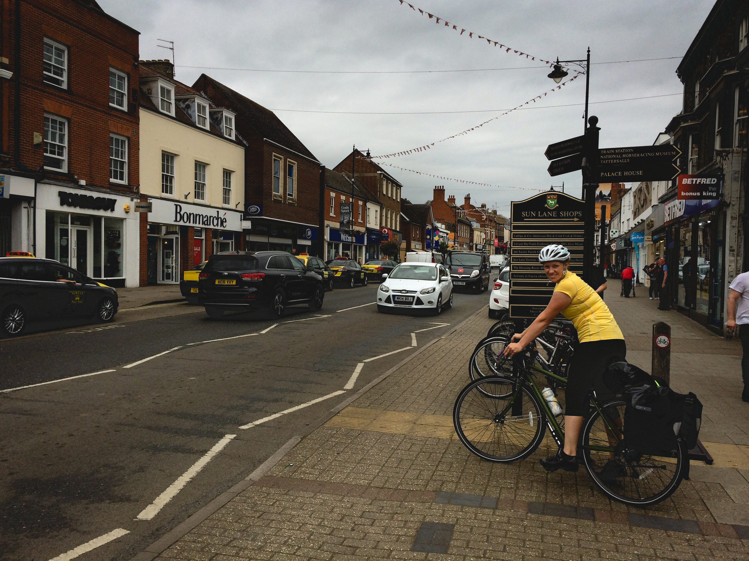 The main drag in Newmarket. You could really feel that people here weren't as comfortable with cyclists as Cambridge. But still better than the States.